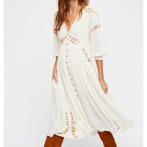 Free People Glow Embroidered Midi Dress